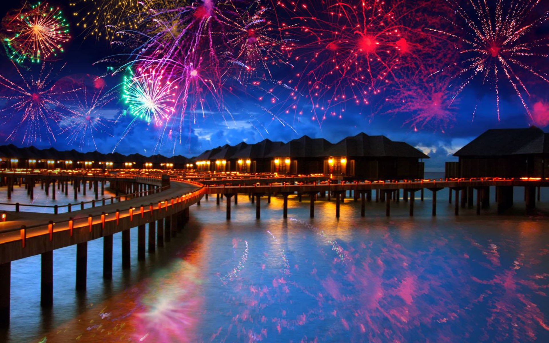 New Year S Eve Fireworks In The Maldives Hd Wallpaper Background