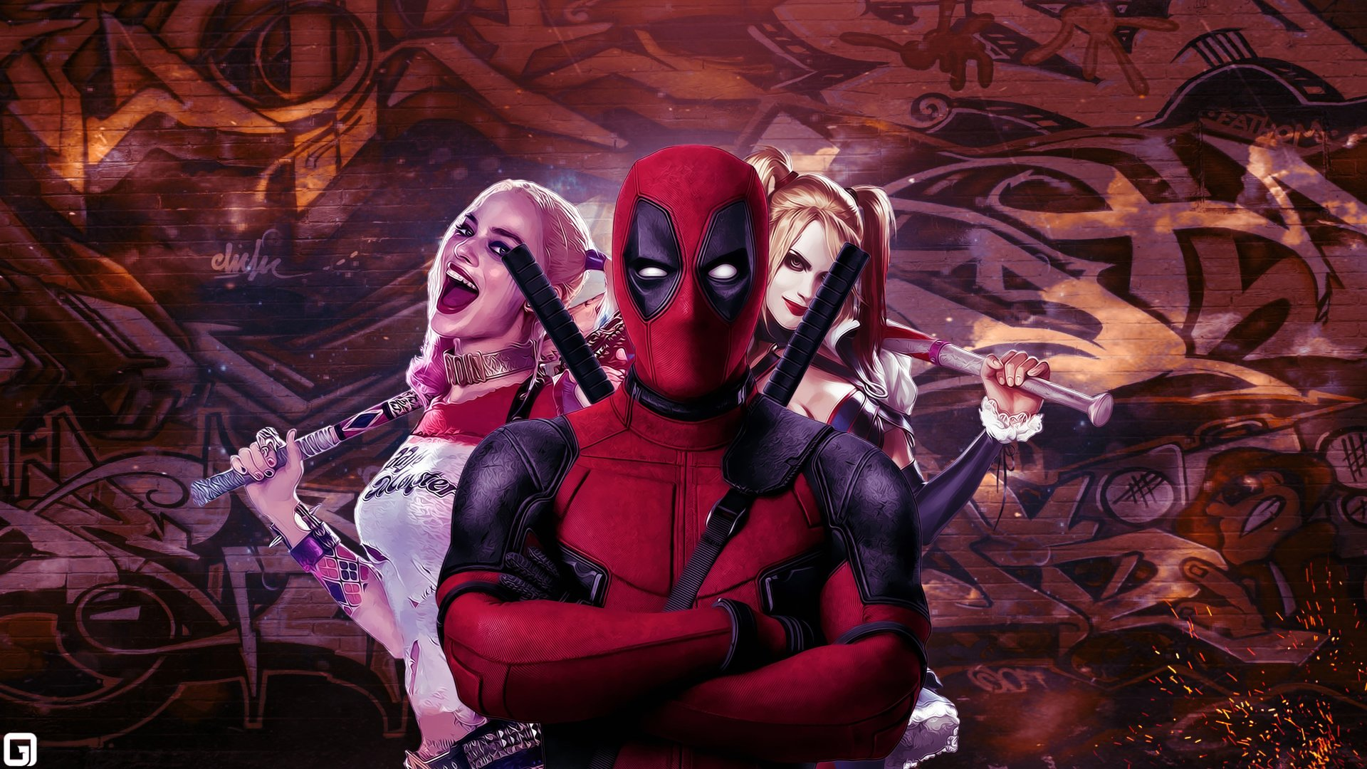 Movie - Crossover  Deadpool Suicide Squad Harley Quinn Wallpaper