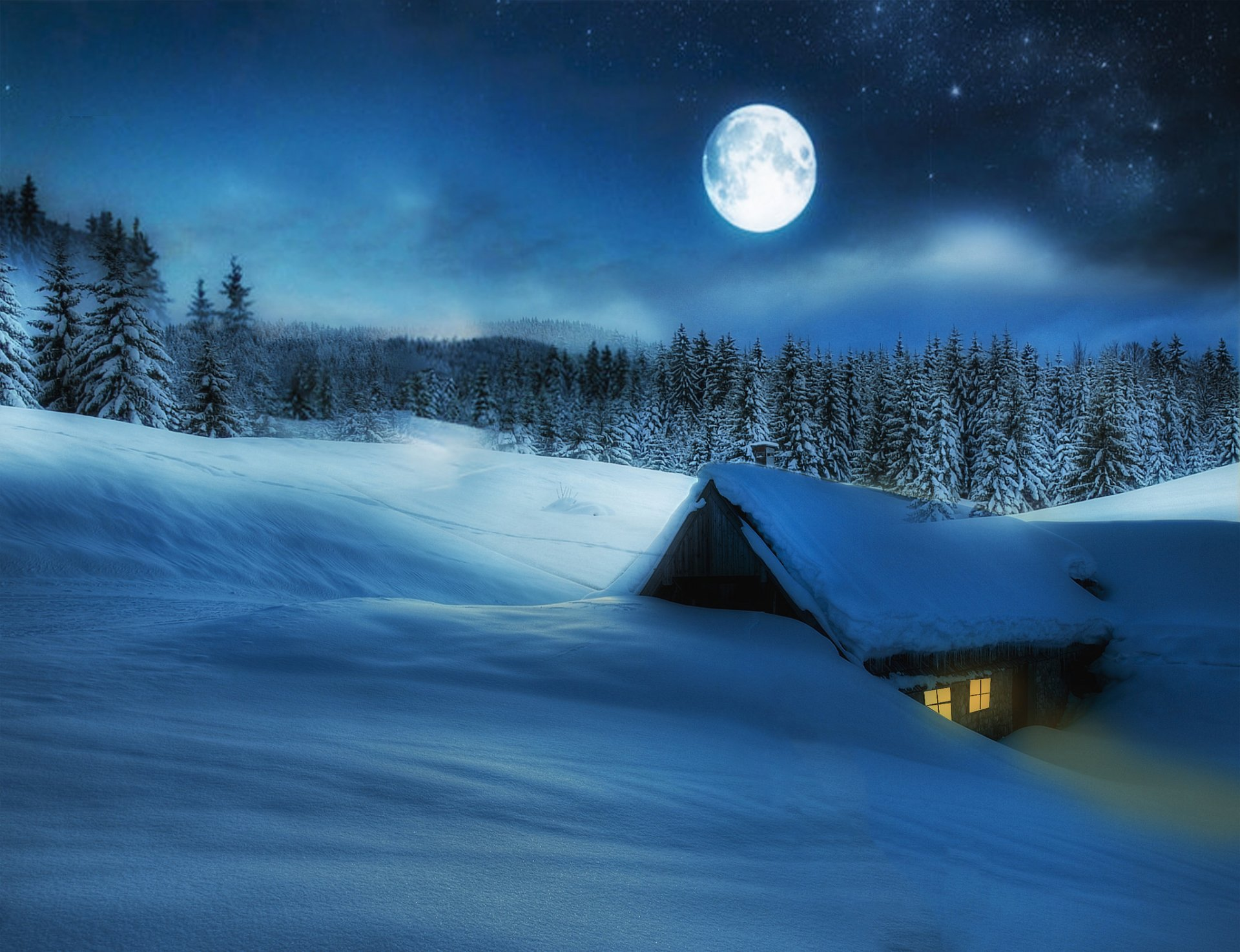 Photography - Winter  Earth Cabin Moon Night Snow Forest Beautiful Stars Wallpaper
