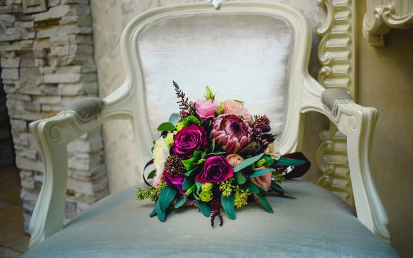 Earth Flower Flowers Chair Bouquet Colorful Rose Dahlia HD Wallpaper | Background Image