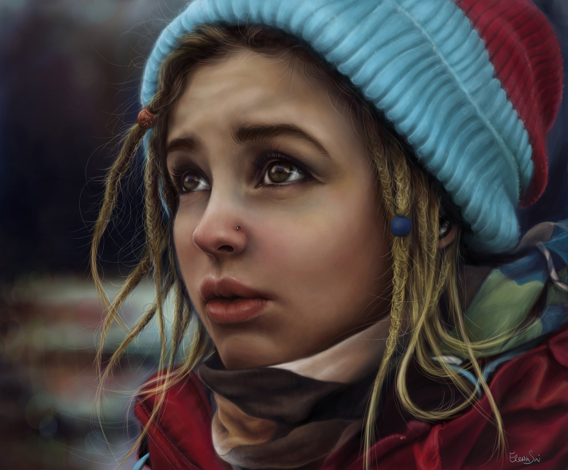 Artistic - Painting  Artistic Girl Coat Hat Blonde Wallpaper