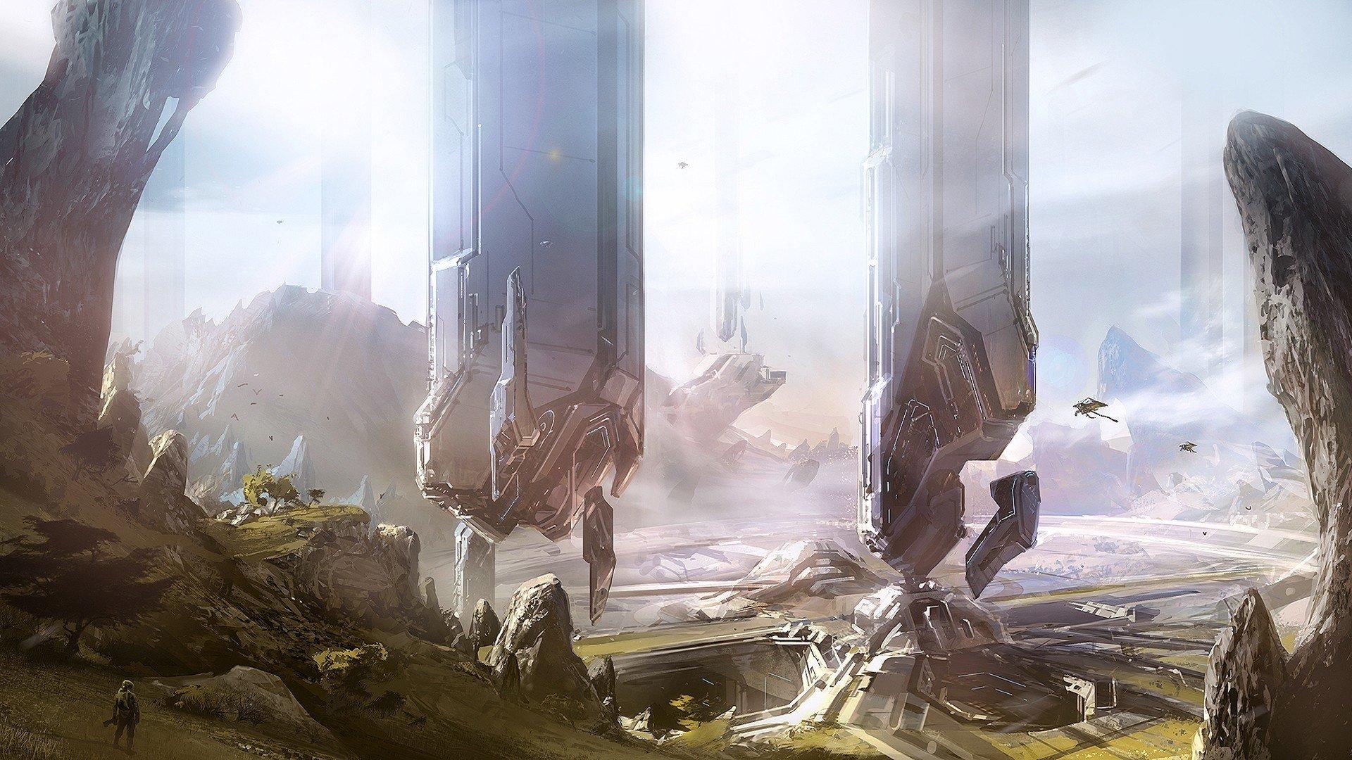 Video Oyunu - Halo 4  Halo Floating Island Manzara Floating Sanat Eseri Duvarkağıdı