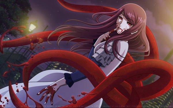 Anime Tokyo Ghoul Kagune Rize Kamishiro Blood Dress White Dress Purple Hair Red Eyes Long Hair Night HD Wallpaper | Background Image