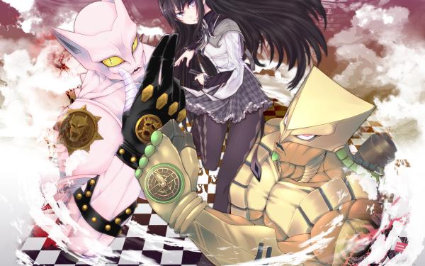 Anime Crossover Jojo's Bizarre Adventure Puella Magi Madoka Magica Homura Akemi HD Wallpaper | Background Image