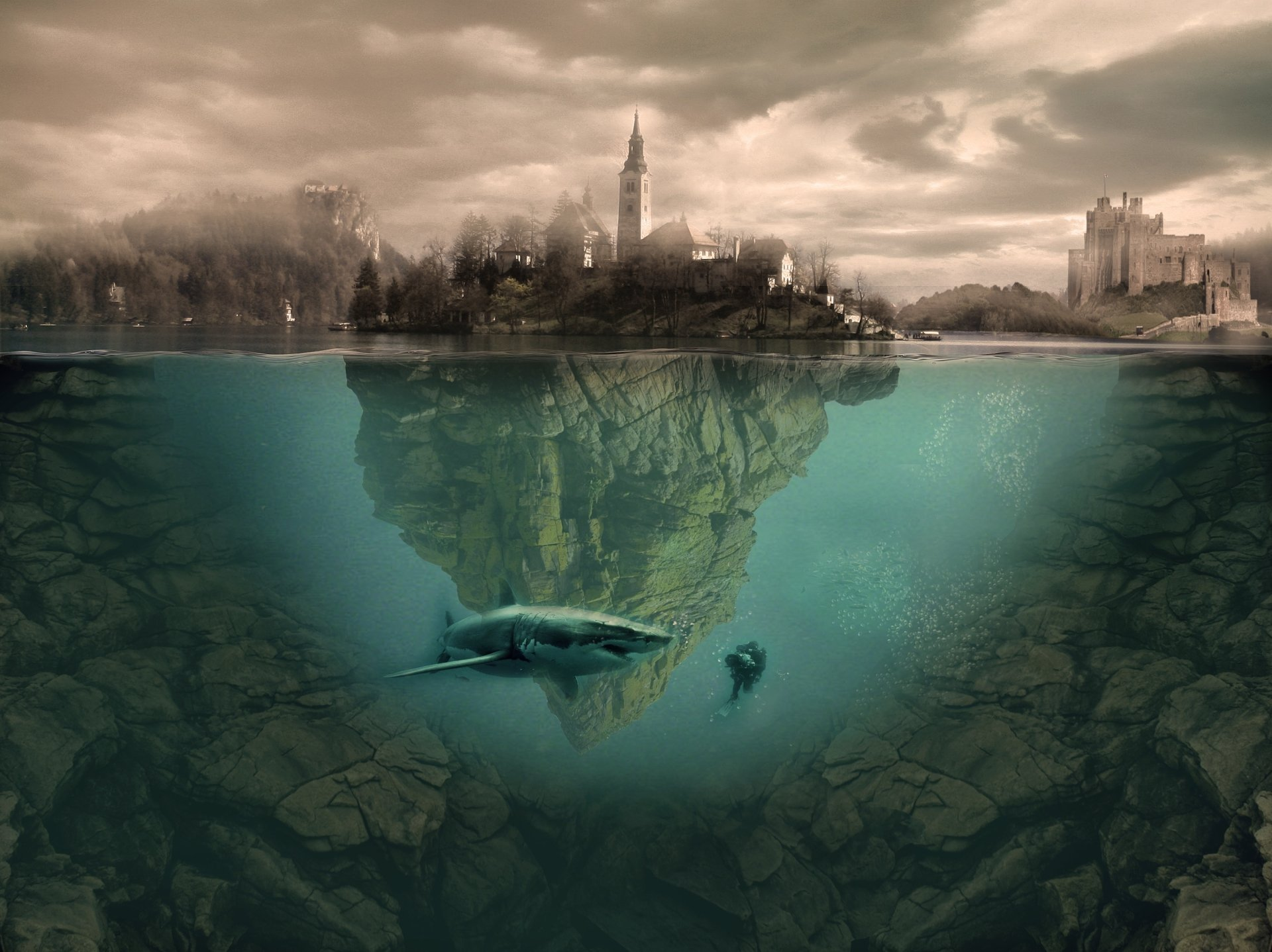 Photography - Manipulation  Shark Diver Underwater Town Fantasy Wallpaper