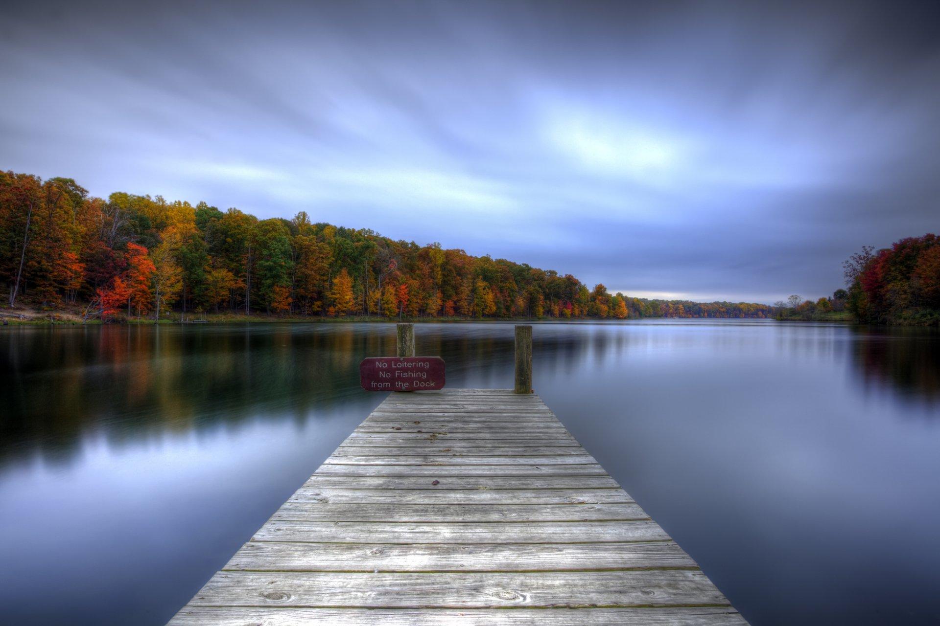Man Made - Pier  Reflection Dock Lake Tree Fall Foliage Colorful Wallpaper