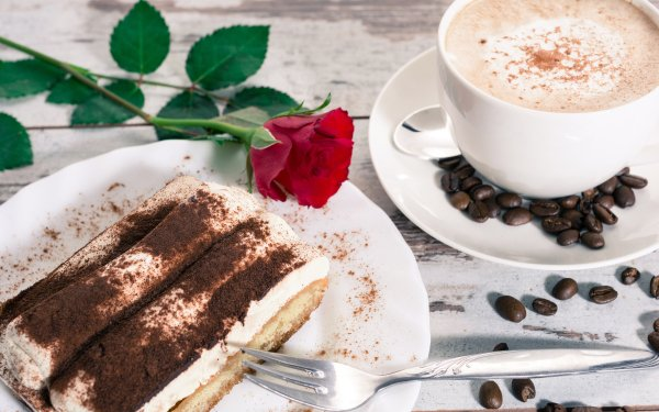 Food Dessert Cake Coffee Cup Coffee Beans Rose HD Wallpaper   Background Image
