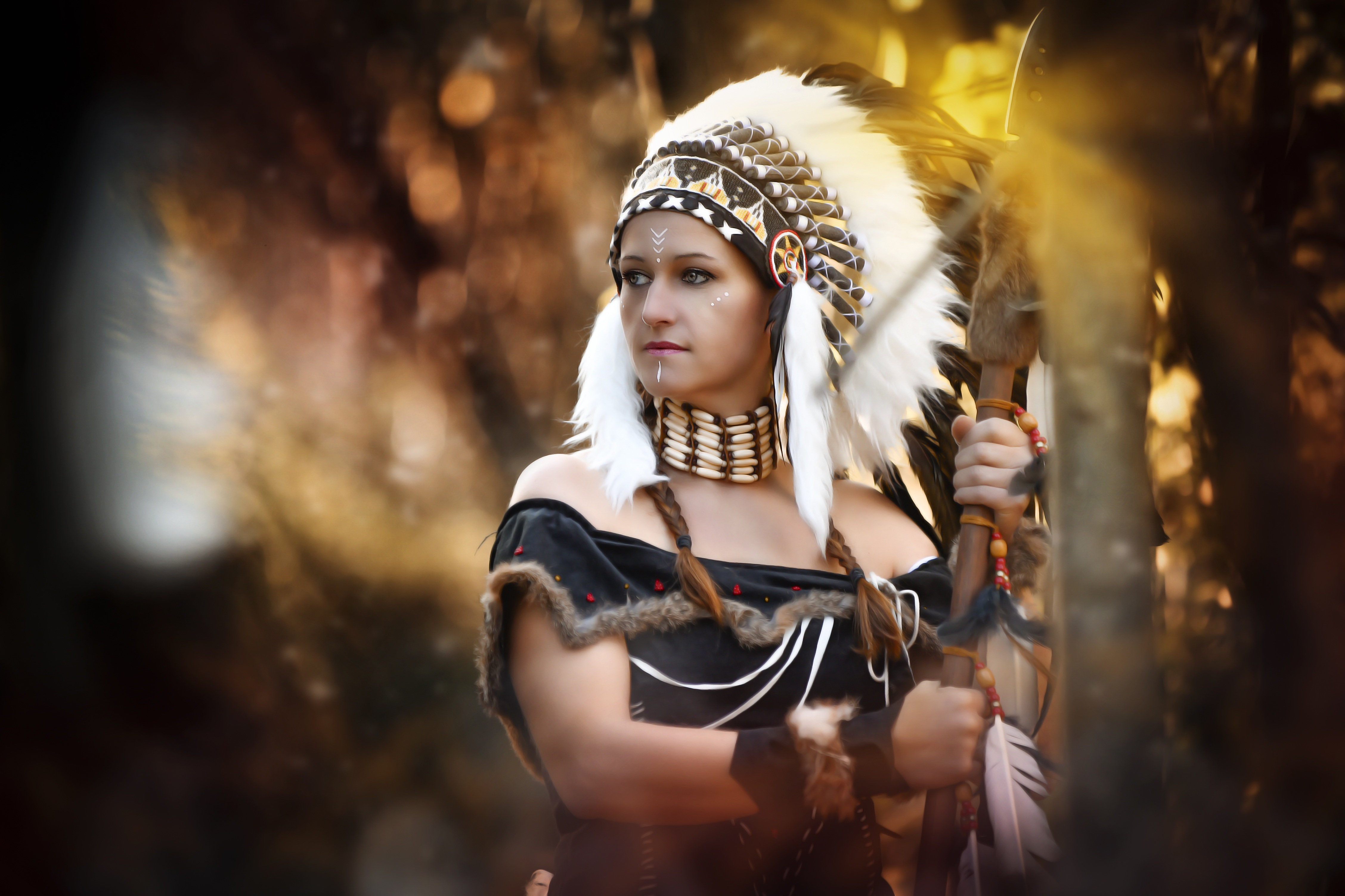 Wallpaper Face Women Cosplay Model Simple Background: Beautiful Woman In A Native American Costume 4k Ultra HD