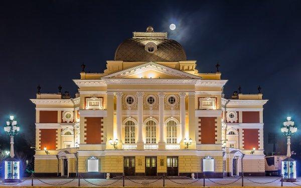 Man Made Irkutsk Drama Theatre Russia Sky Night Light Architecture Moon Columns HD Wallpaper   Background Image