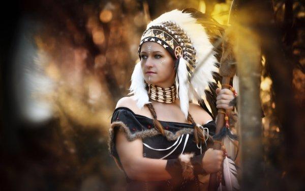 Women Native American Costume Spear Cosplay Headdress Mood Portrait Feather Blur HD Wallpaper | Background Image