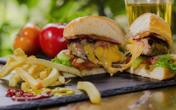 Food Burger French Fries Meal Lunch HD Wallpaper   Background Image