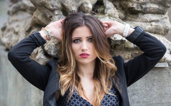 Women Model Models Woman Lipstick Brunette Hazel Eyes HD Wallpaper | Background Image