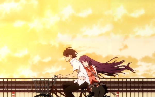 Anime Monogatari (Series) Bakemonogatari Bike Sunset Koyomi Araragi Hitagi Senjōgahara Black Hair HD Wallpaper | Background Image
