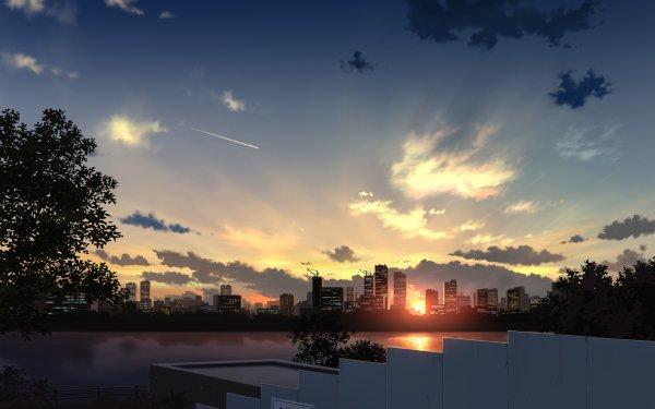 Anime Original City Sunset HD Wallpaper   Background Image