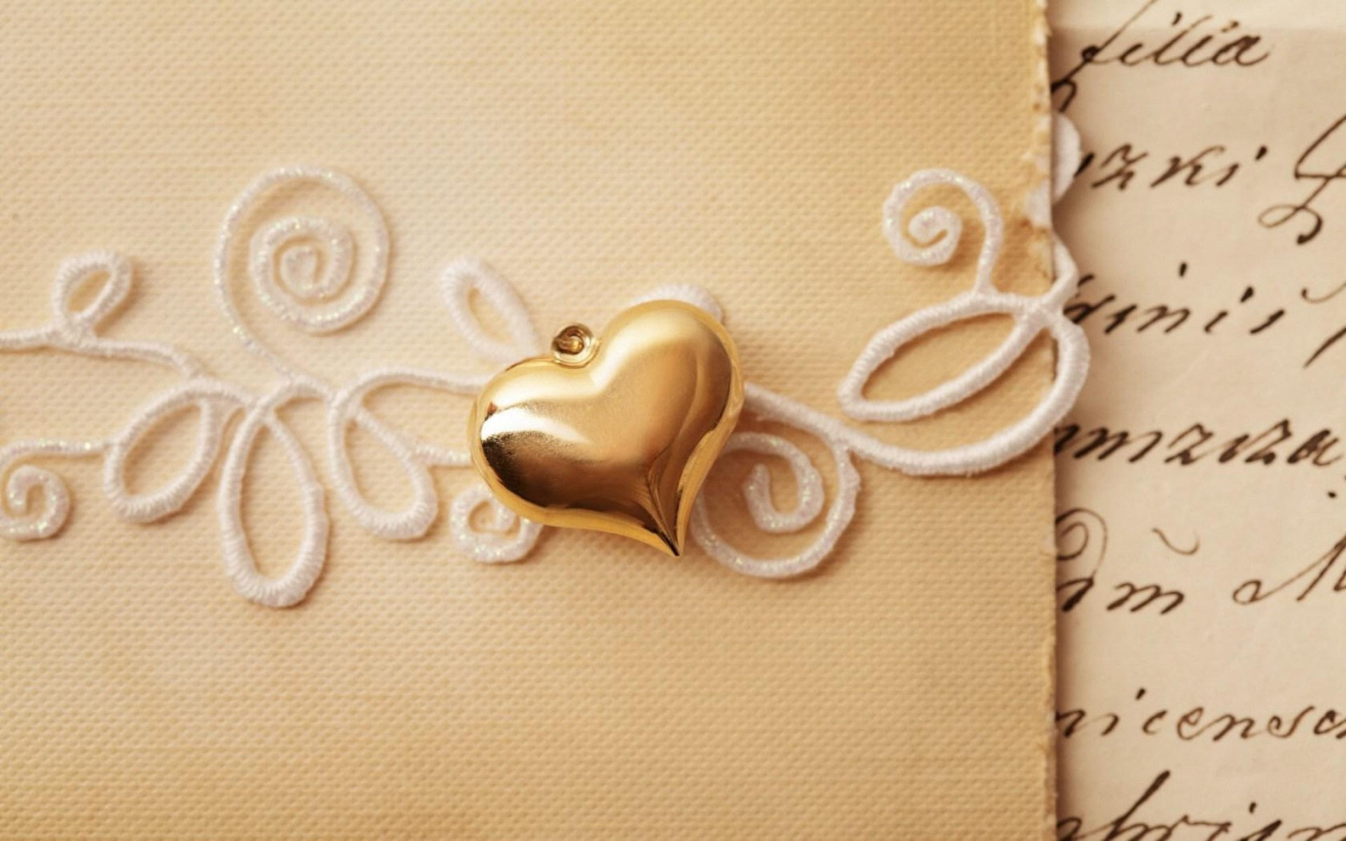 Gold Heart And Letter HD Wallpaper