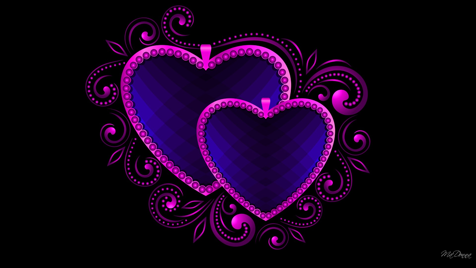 Purple And Blue Hearts Full HD Wallpaper Background Image