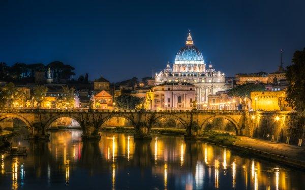 Religious Vatican City Bridge River Architecture Light HD Wallpaper   Background Image