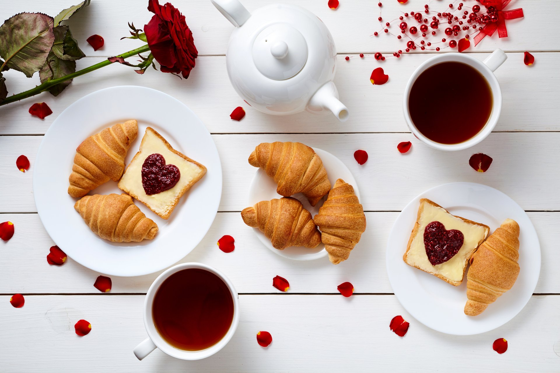 Food - Breakfast  Still Life Tea Cup Croissant Romantic Wallpaper