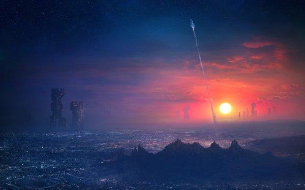 Science Fiction Ville Cityscape Futuriste Navette Spatial Horizon Coucher de Soleil Bâtiment Gratte-ciel Fond d'écran HD | Image
