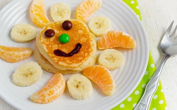Alimento Desayuno Cara Panqueque Plátano Mandarina Fondo de pantalla HD | Fondo de Escritorio
