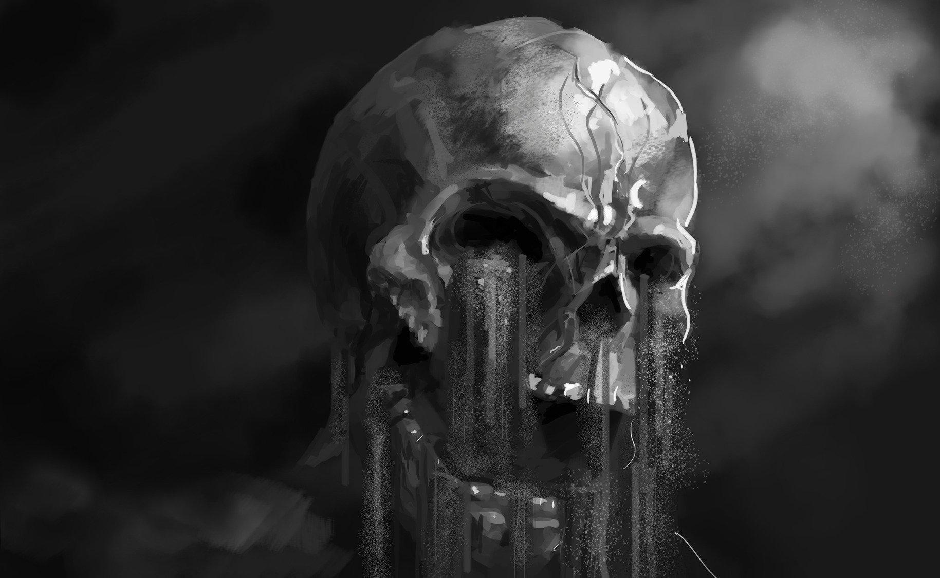 Dark - Skull Dark Horror Artwork Artistic Black & White Wallpaper
