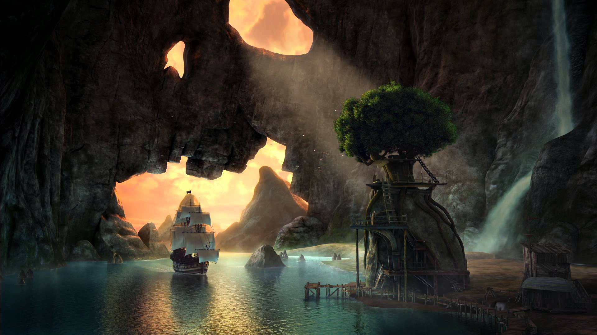 Tinker bell and the pirate fairy pirate ship in skull cave hd wallpaper background image - Pirate background ...