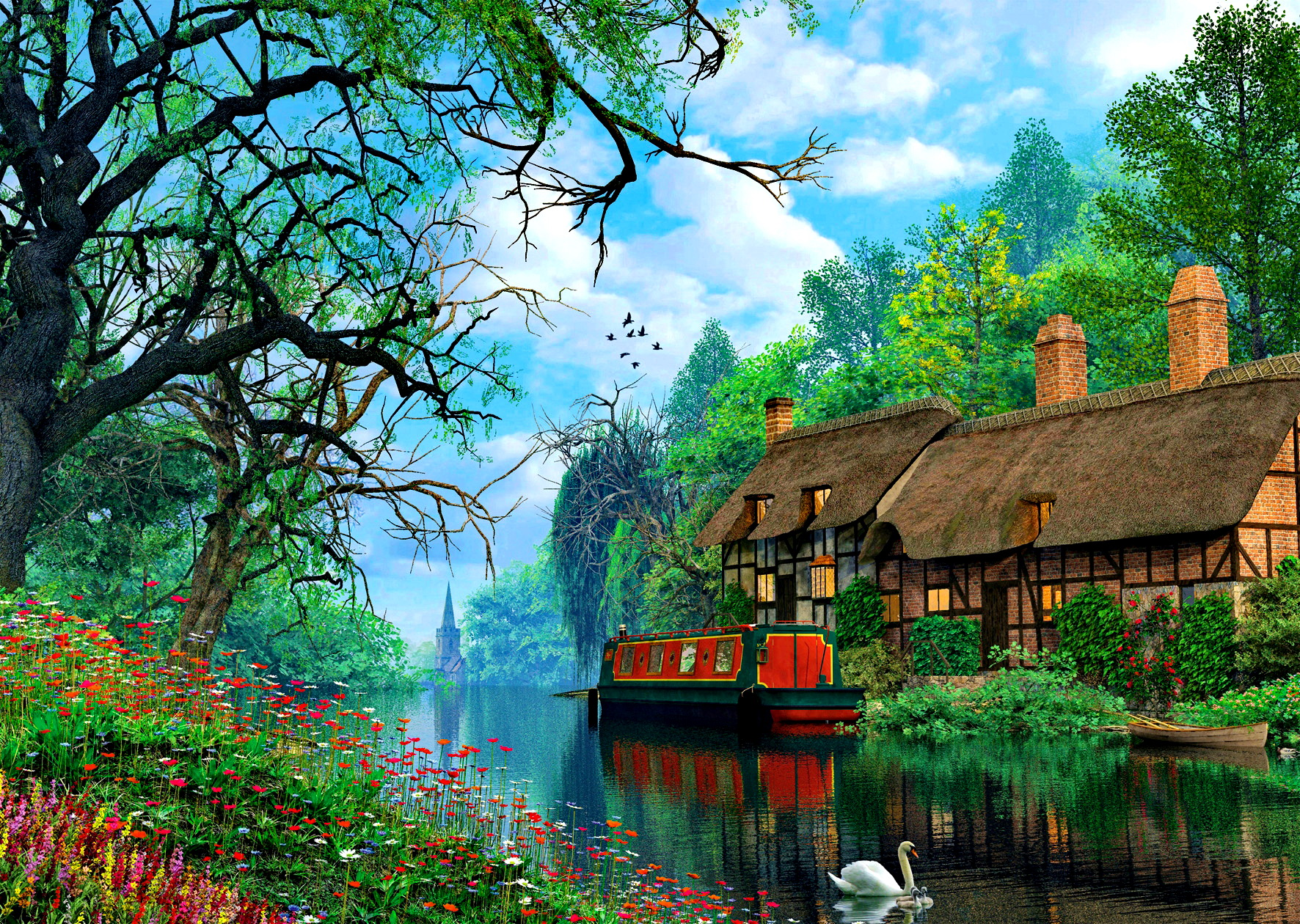 houses along a canal wallpaper and background image 1772x1260 id 805125 wallpaper abyss. Black Bedroom Furniture Sets. Home Design Ideas