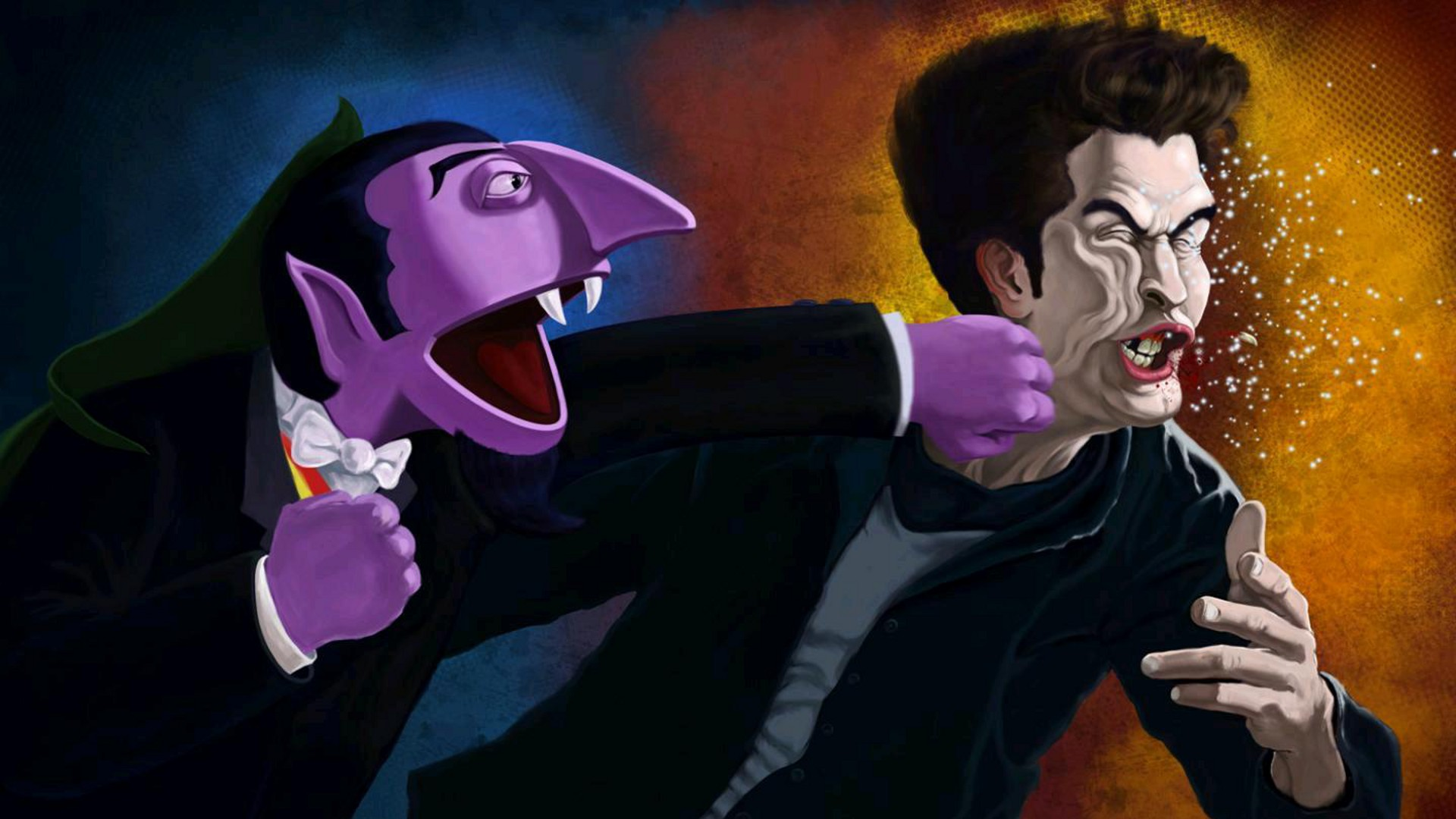 Humor - Mocking  The Count Sesame Street Edward Cullen Punch Wallpaper