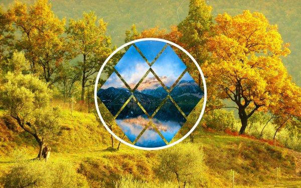 Artistic Polyscape Park Diamond HD Wallpaper   Background Image