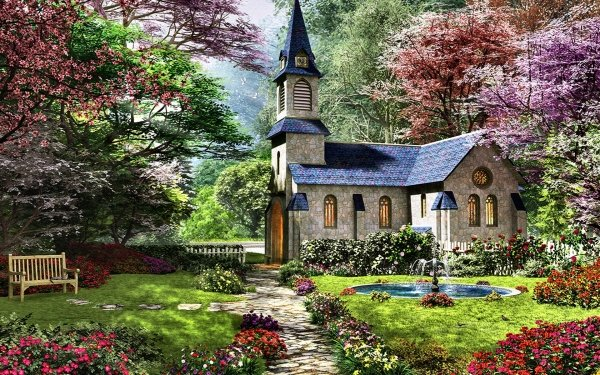 Religious Chapel Artistic Church Spring Tree Blossom Garden Path Fountain HD Wallpaper | Background Image