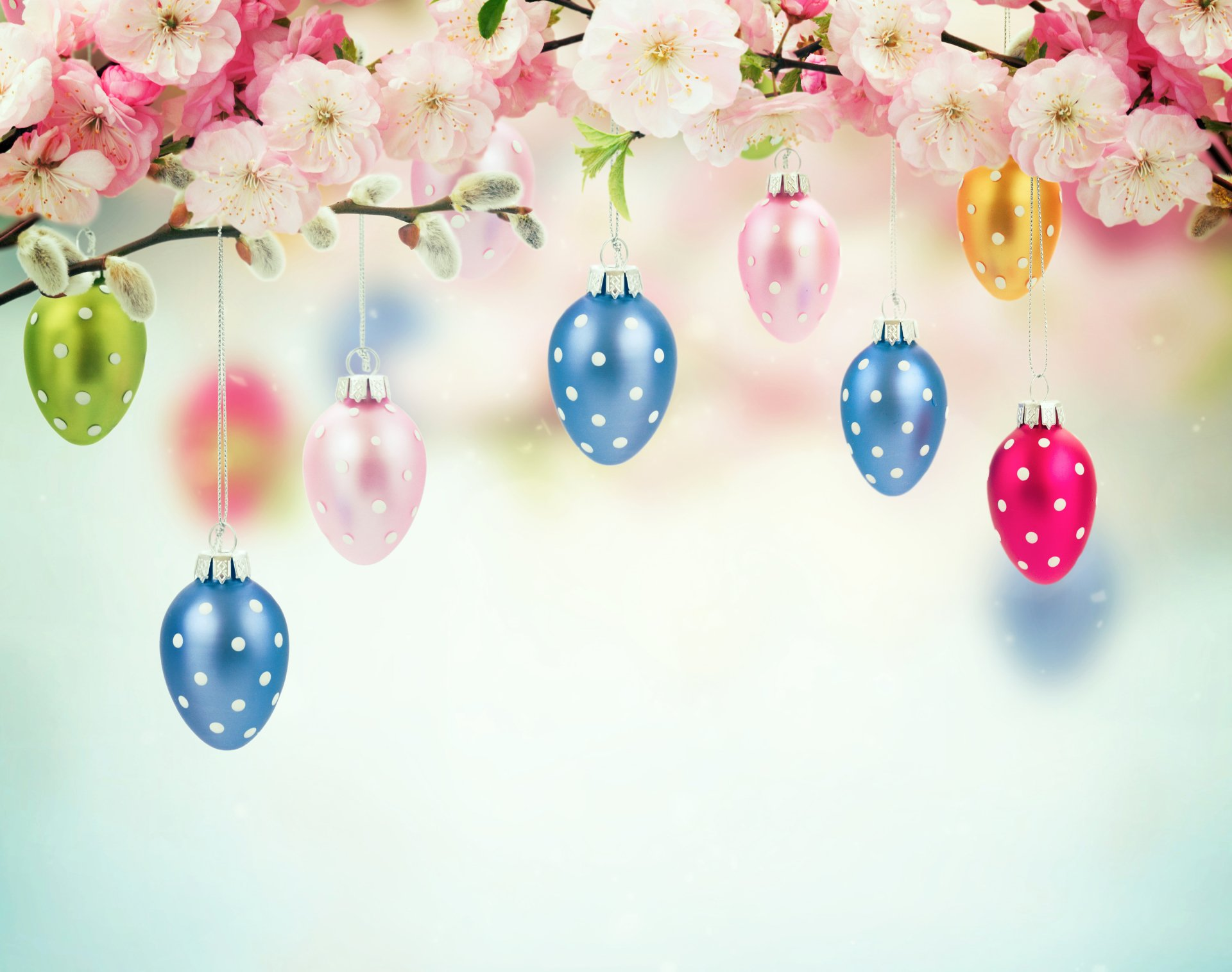 Holiday - Easter  Holiday Pink Blossom Easter Egg Christmas Ornaments Wallpaper