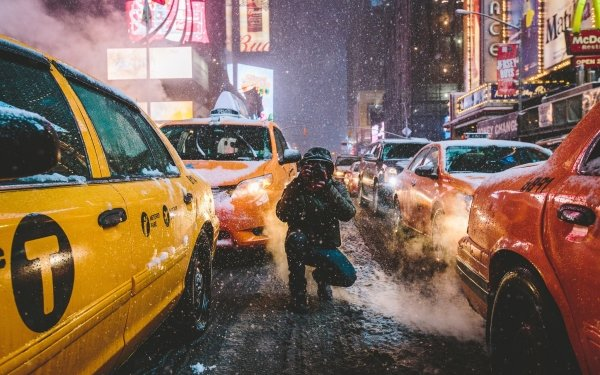 Man Made Camera New York Taxi Street Snowfall USA Winter Night Car HD Wallpaper | Background Image