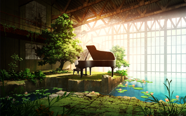 Anime Original Piano Room Water Tree HD Wallpaper | Background Image