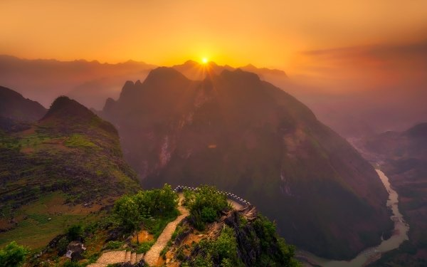 Earth Landscape Mountain Forest Rock Sunset Sun Vietnam HD Wallpaper | Background Image