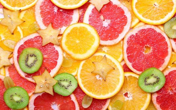 Food Fruit Fruits Kiwi orange Star Fruit Blood Orange HD Wallpaper   Background Image