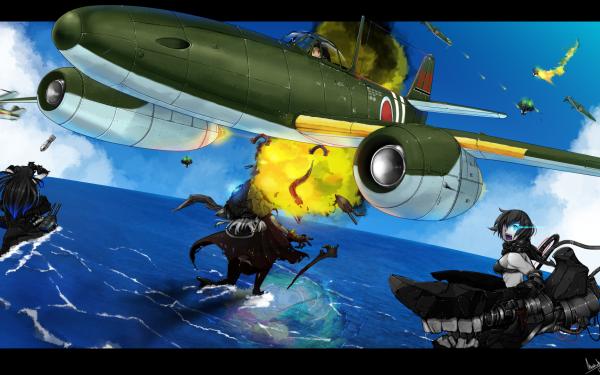 Anime Kantai Collection Light Cruiser Demon Heavy Cruiser Ri-Class Standard Carrier Wo-Class HD Wallpaper   Background Image