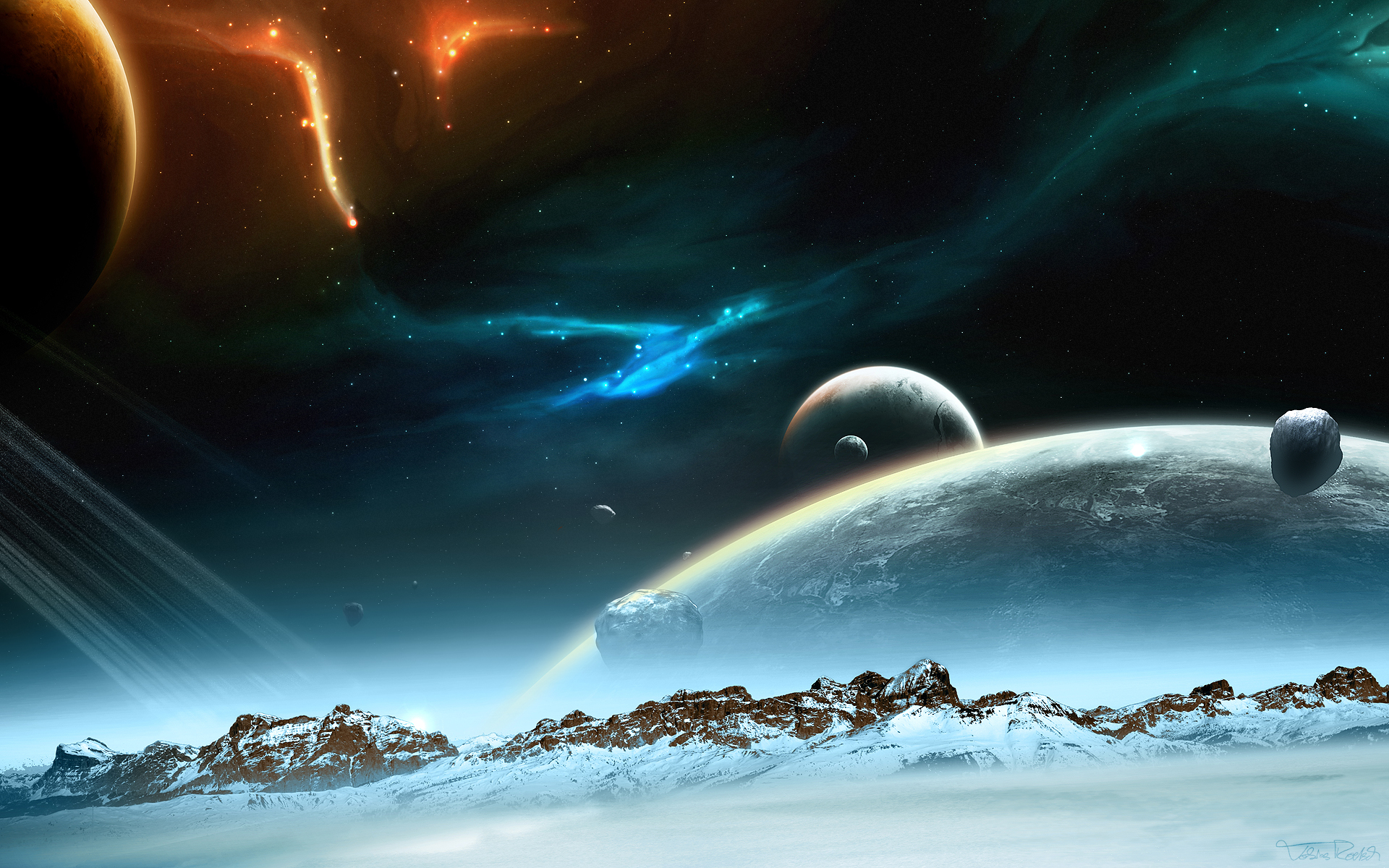 sci fi planet rise galaxy stars space wallpaper