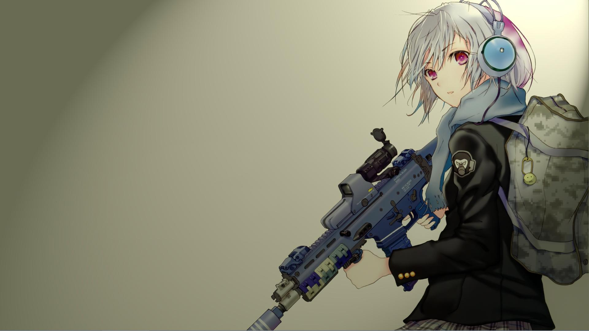 Anime - Unknown  Girl Rifle Short Hair Gun Headphones White Hair Anime Artistic Wallpaper