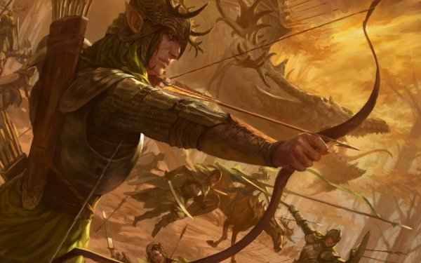 Fantasy Elf Warrior Bow Dragon Battle Arrow Pointed Ears HD Wallpaper | Background Image