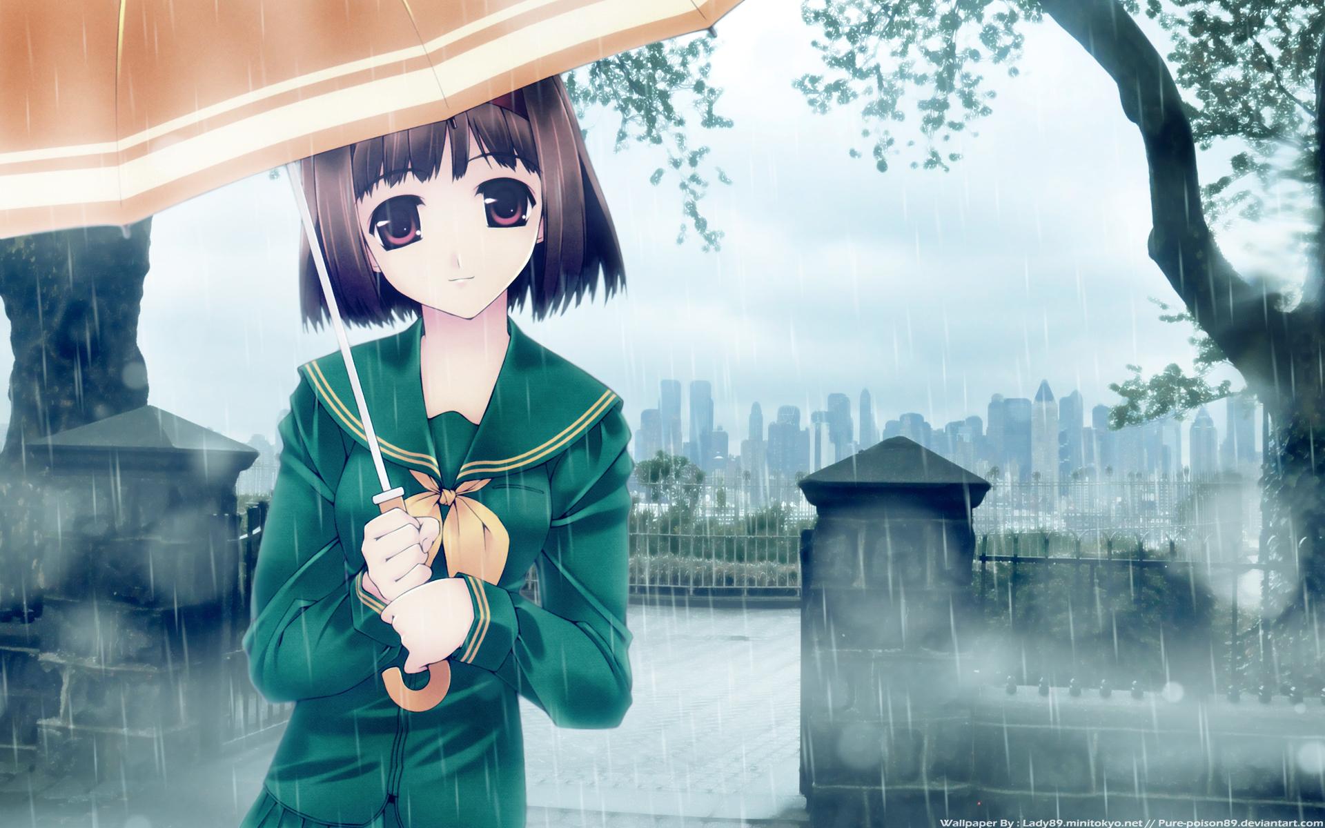 anime rain green wallpaper - photo #39