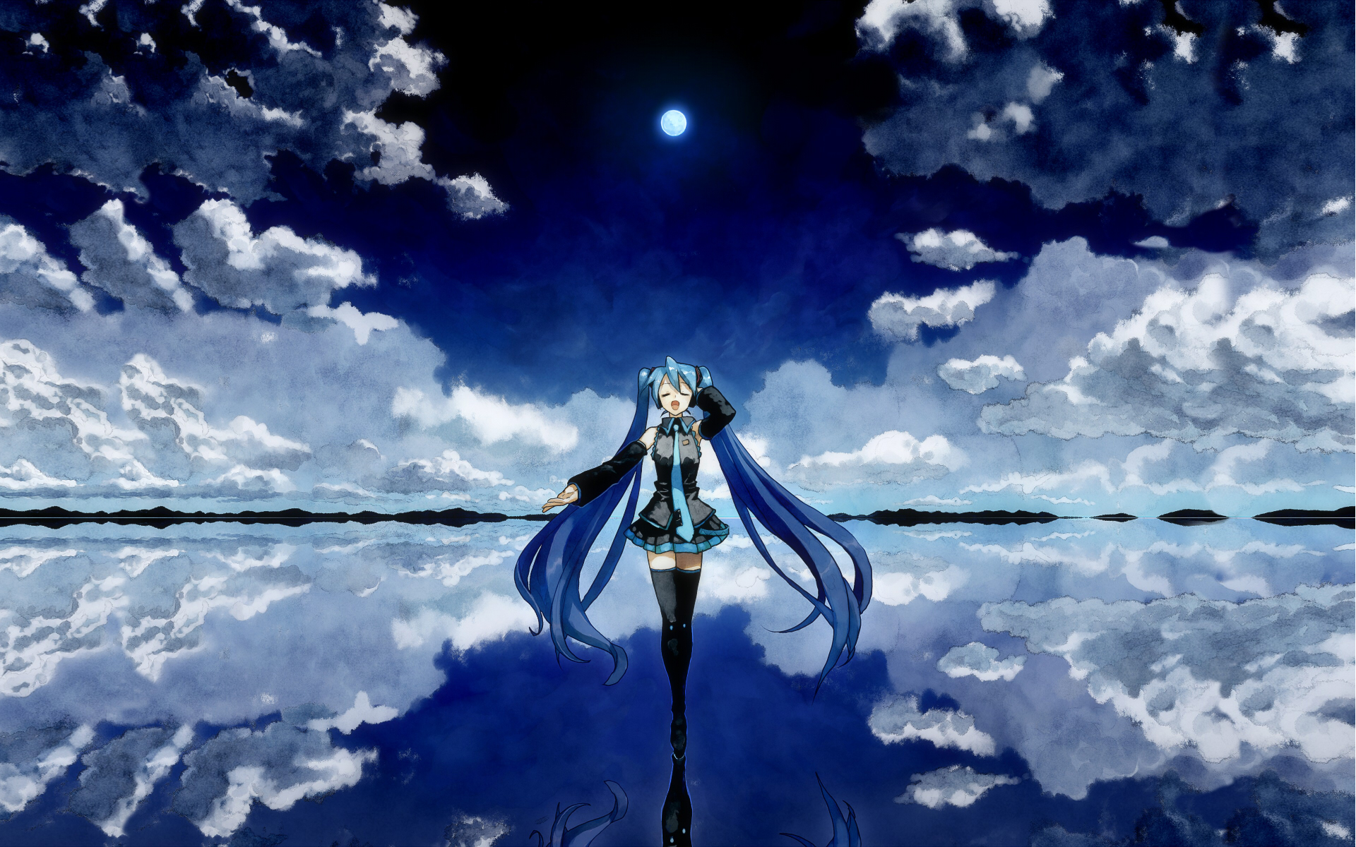 Anime - Vocaloid  - Cute - Girl - Sky - Water - Anime - Hatsune Miku - Hatsune - Miku Papel de Parede