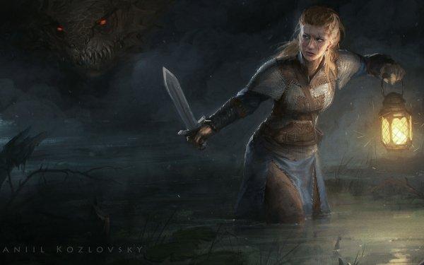 Fantasy Women Warrior Woman Warrior Lantern Dark Creature Sword Blonde Viking HD Wallpaper   Background Image