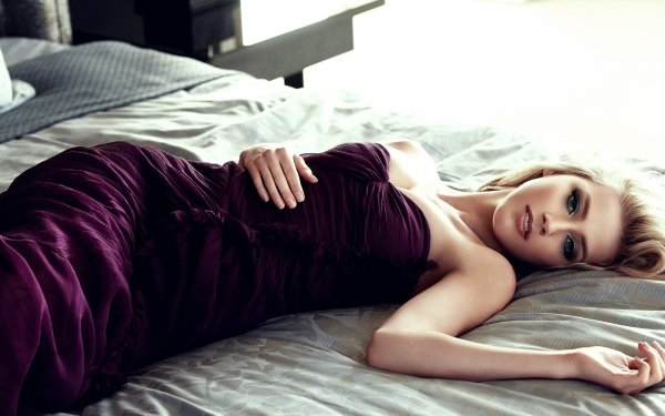 Celebrity Amber Heard Actresses United States Actress American Lying Down Blonde Purple Dress HD Wallpaper | Background Image