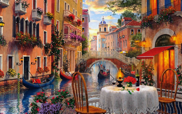 Artistic Painting Venice Canal Gondola Table Cafe House HD Wallpaper | Background Image
