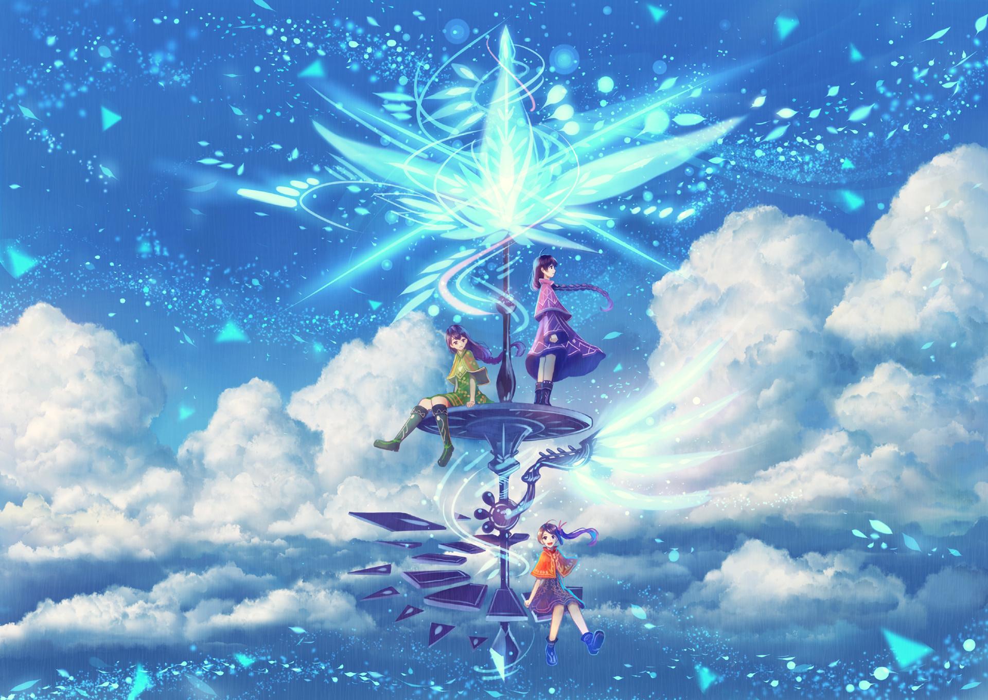 Anime - Original  Sky Cloud Girl Purple Hair Boots Braid Ponytail Wallpaper