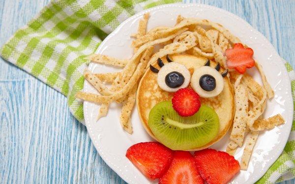 Alimento Desayuno Panqueque Fresa Humor Cara Fondo de pantalla HD | Fondo de Escritorio