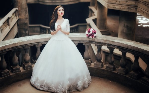 Women Bride Woman Model Asian Brunette White Dress Wedding Dress HD Wallpaper   Background Image