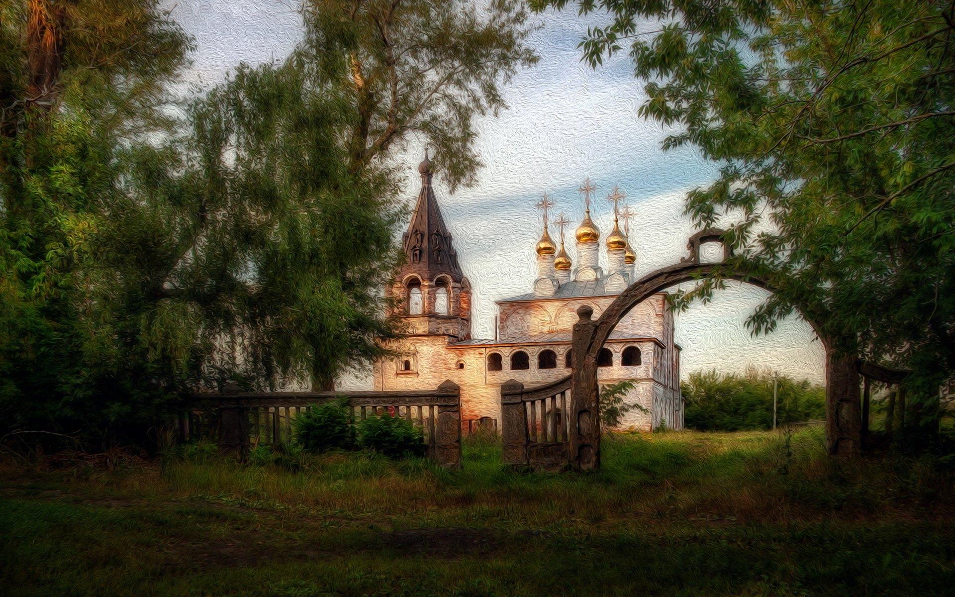 艺术 - 绘画  油画 艺术 教堂 俄罗斯 树 石拱门 栅栏 壁纸