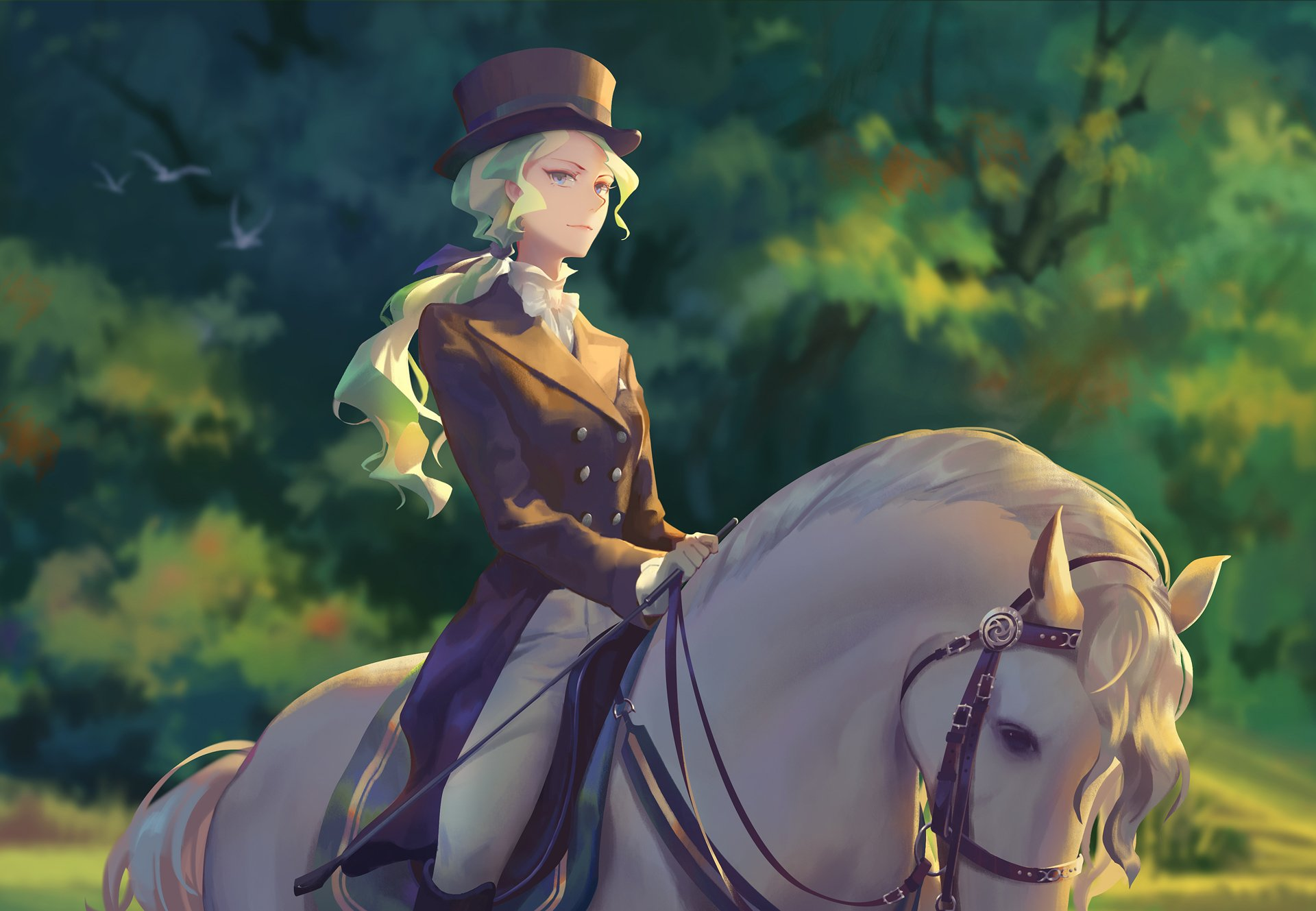 Anime - Little Witch Academia  Green Hair Hat Girl Diana Cavendish Blue Eyes Horse Wallpaper