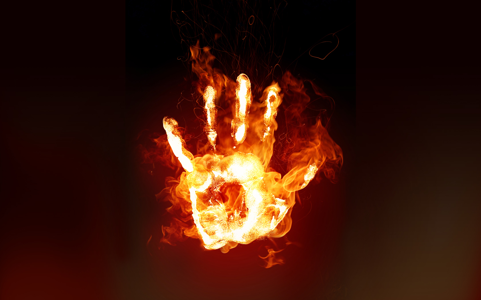 Dark - Artistic  Fire Hand Dark Flame Wallpaper